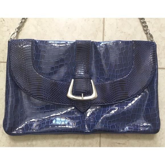WHBM royal blue croc embossed clutch handbag
